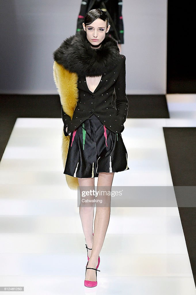 A model walks the runway at the Emporio Armani Autumn Winter 2016 fashion show during Milan Fashion Week on February 26 2016 in Milan Italy