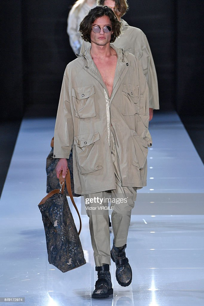 A model walks the runway at the Emporio Armani Ready to Wear Spring/Summer 2018 fashion show during London Fashion Week September 2017 on September 17, 2017 in London, England.