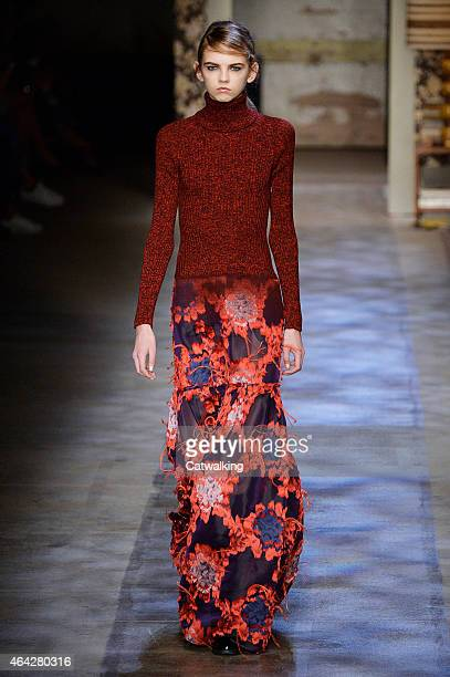A model walks the runway at the Erdem Autumn Winter 2015 fashion show during London Fashion Week on February 23 2015 in London United Kingdom