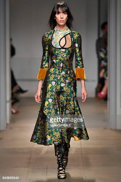 A model walks the runway at the ERDEM Ready to Wear Fall Winter 20172018 fashion show during the London Fashion Week February 2017 collections on...