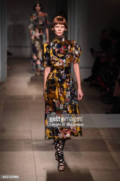 A model walks the runway at the ERDEM show during the London Fashion Week February 2017 collections on February 20 2017 in London England