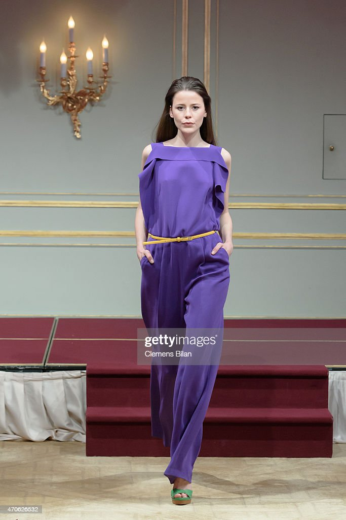 A model walks the runway at the Escada At Global Female Leader Summit on April 21, 2015 in Berlin, Germany.