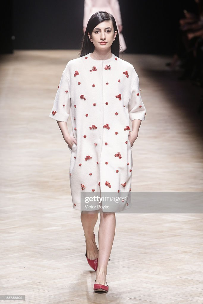 A model walks the runway at the Esme Vie show during day 1 of Aurora Fashion Week Russia AW14 on April 9, 2014 in Saint Petersburg, Russia.