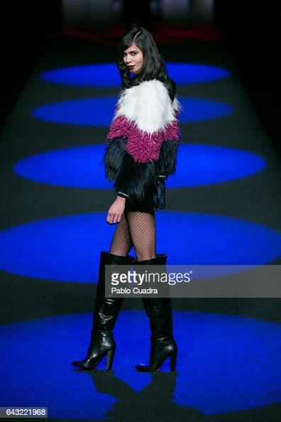 A model walks the runway at the Esther Noriega show during the MercedesBenz Madrid Fashion Week Autumn/Winter 2017 at Ifema on February 20 2017 in...
