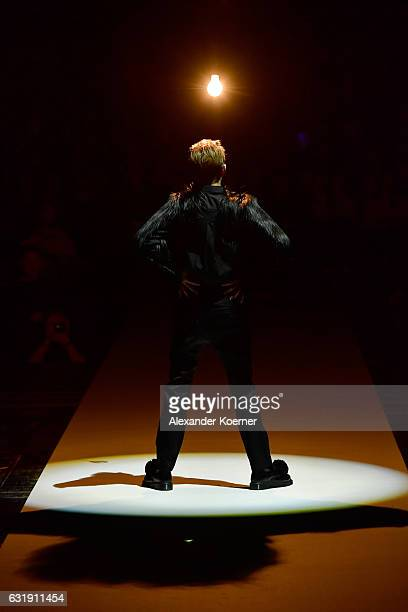 A model walks the runway at the Esther Perbandt show during the MercedesBenz Fashion Week Berlin A/W 2017 at Volksbuehne on January 17 2017 in Berlin...