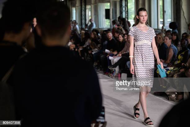 A model walks the runway at the Ethical Fashion on Stage show during the MercedesBenz Fashion Week Berlin Spring/Summer 2018 at Funkhaus Berlin on...