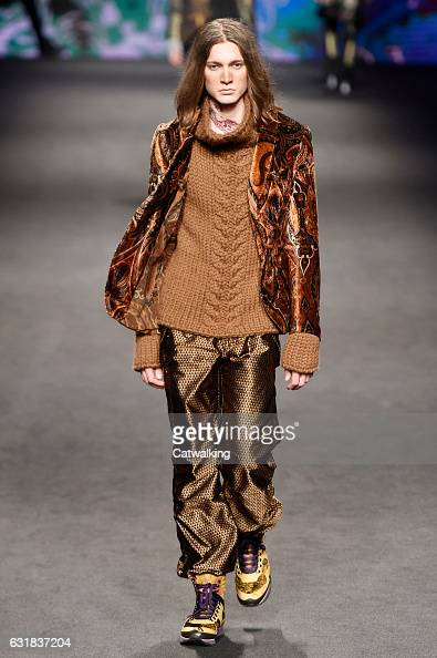 A model walks the runway at the Etro Autumn Winter 2017 fashion show during Milan Menswear Fashion Week on January 16 2017 in Milan Italy