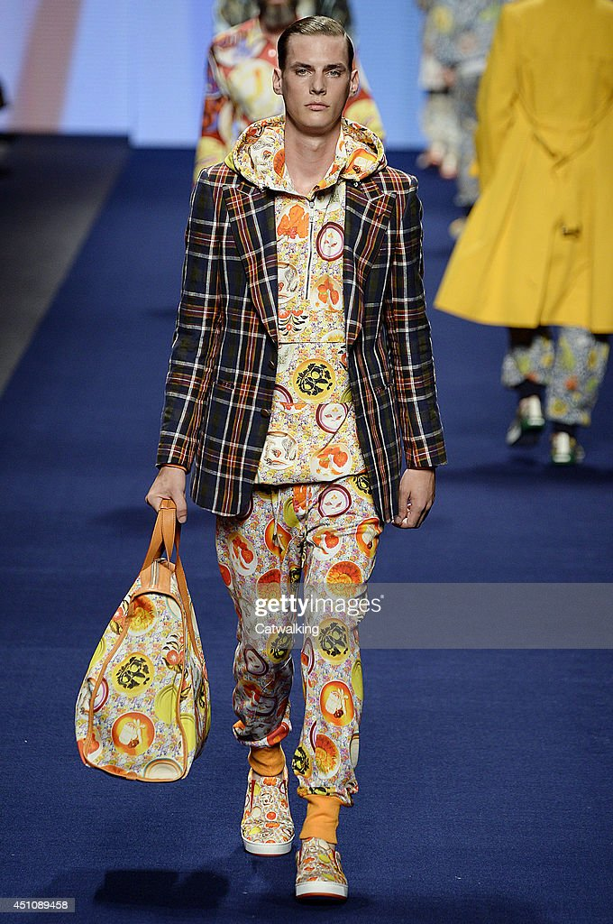 A model walks the runway at the Etro Spring Summer 2015 fashion show during Milan Menswear Fashion Week on June 23, 2014 in Milan, Italy.