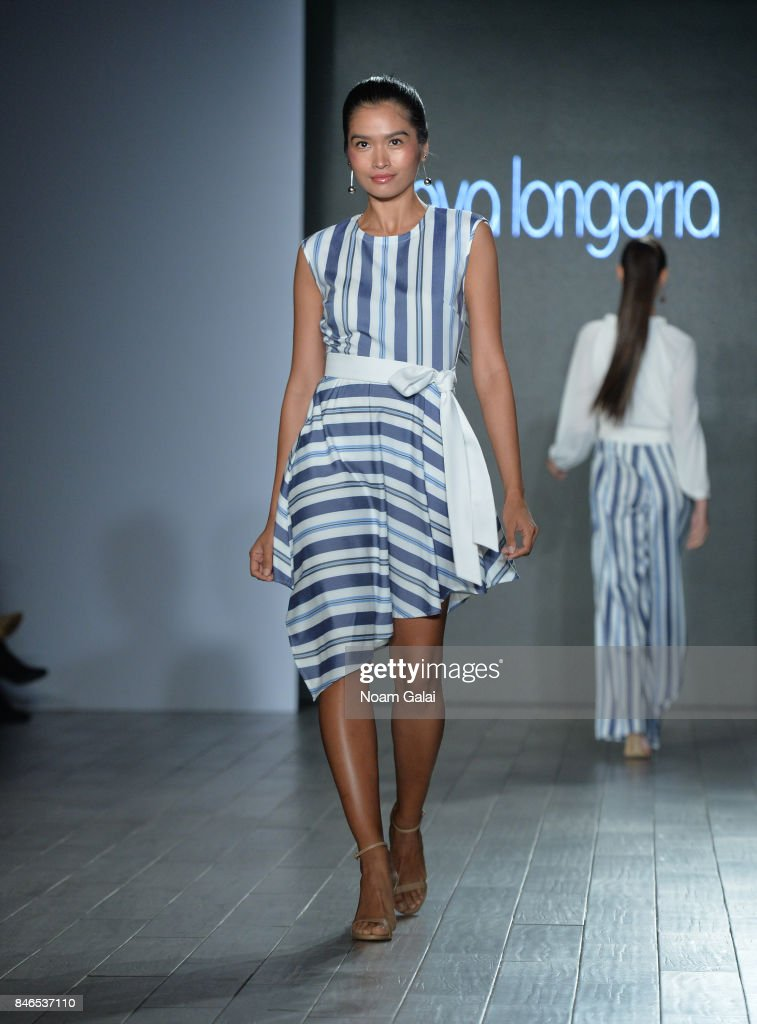 A model walks the runway at the Eva Longoria Collection fashion show during New York Fashion Week: Style360 at Metropolitan West on September 13, 2017 in New York City.