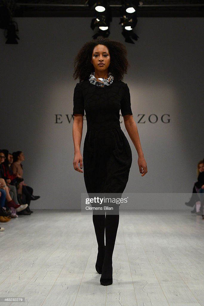 A model walks the runway at the Ewa Herzog show during Mercedes-Benz Fashion Week Autumn/Winter 2014/15 at Brandenburg Gate on January 17, 2014 in Berlin, Germany.