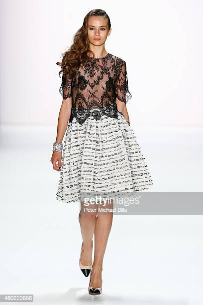 A model walks the runway at the Ewa Herzog show during the MercedesBenz Fashion Week Berlin Spring/Summer 2016 at Brandenburg Gate on July 10 2015 in...