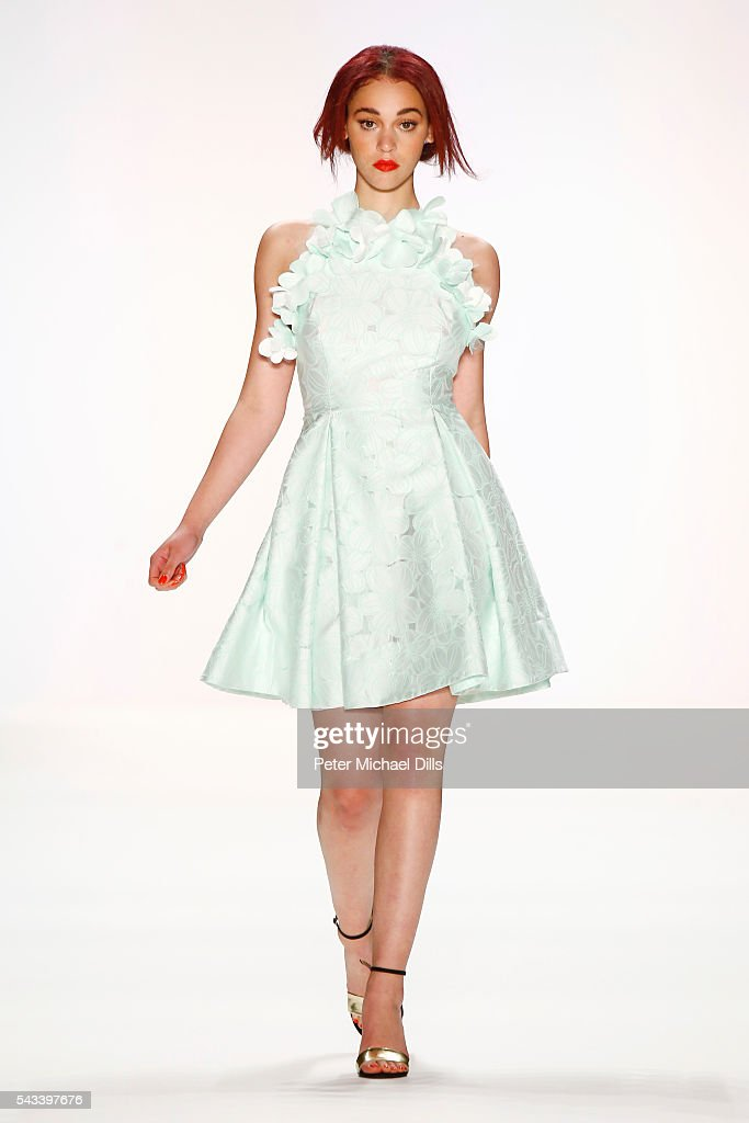 A model walks the runway at the Ewa Herzog show during the Mercedes-Benz Fashion Week Berlin Spring/Summer 2017 at Erika Hess Eisstadion on June 28, 2016 in Berlin, Germany.