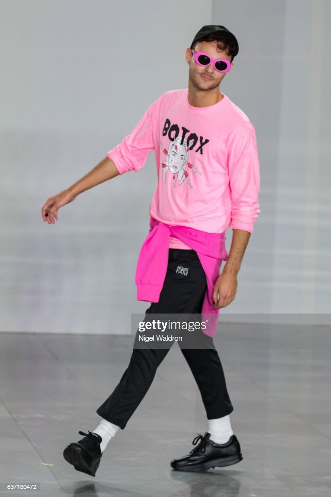 A model walks the runway at the Fam Irvoll show show during the Fashion Week Oslo Spring/Summer 2018 at the Sentralen on August 22, 2017 in Oslo, Norway.