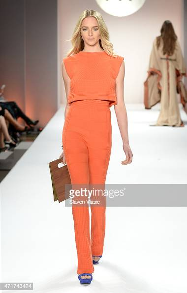 A model walks the runway at The Fashion Institute of Technology's Future of Fashion Runway Show hosted by Nicole Richie at The Fashion Institute of...