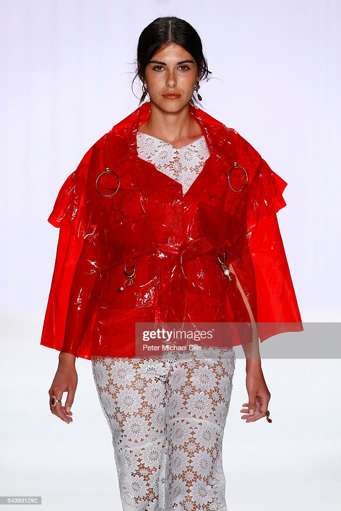 A model walks the runway at the fashion talent award 'Designer for Tomorrow' by Peek & Cloppenburg and Fashion ID hosted by Alber Elbaz during the Mercedes-Benz Fashion Week Berlin Spring/Summer 2017 at Erika Hess Eisstadion on June 30, 2016 in Berlin, Germany.