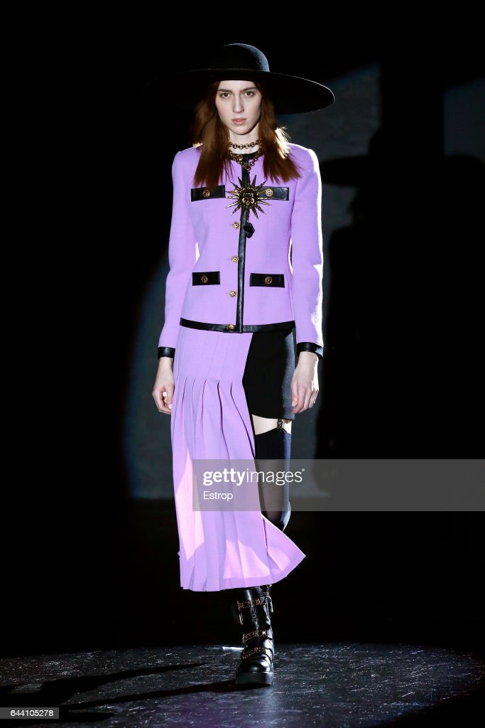 model-walks-the-runway-at-the-fausto-puglisi-show-during-milan-week-picture-id644105278