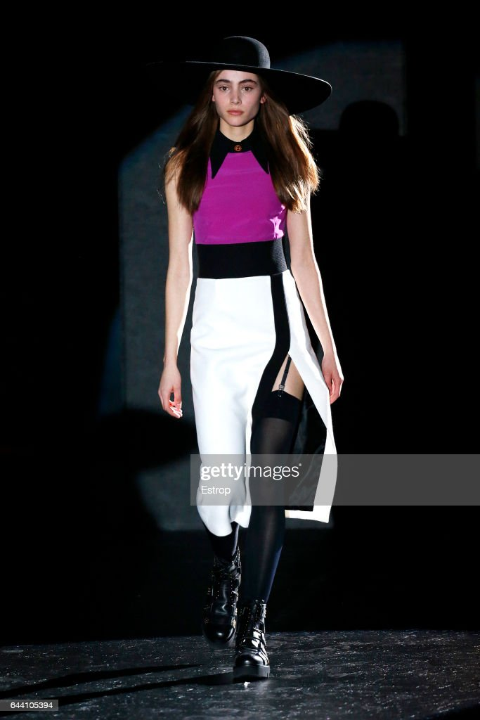 model-walks-the-runway-at-the-fausto-puglisi-show-during-milan-week-picture-id644105394