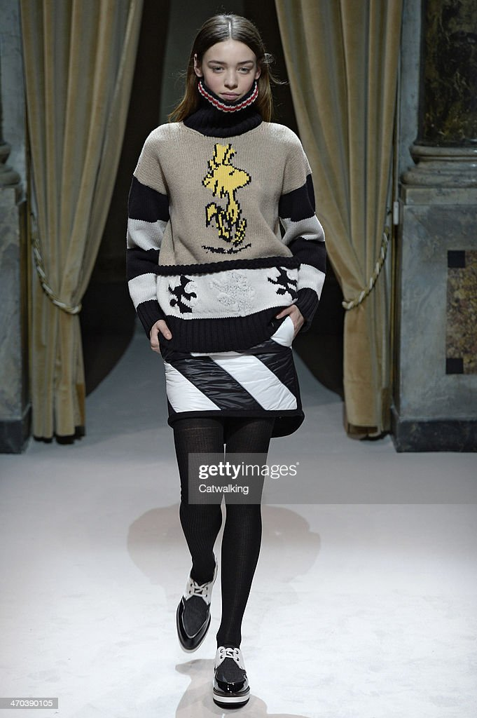 A model walks the runway at the Fay Autumn Winter 2014 fashion show during Milan Fashion Week on February 19, 2014 in Milan, Italy.
