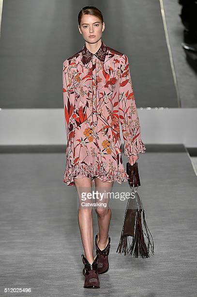 A model walks the runway at the Fay Autumn Winter 2016 fashion show during Milan Fashion Week on February 24 2016 in Milan Italy