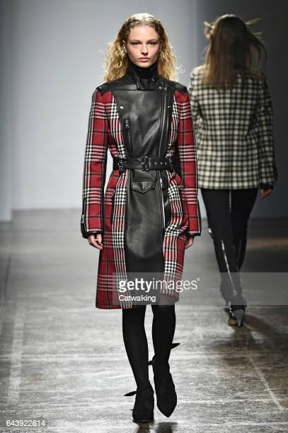 A model walks the runway at the Fay Autumn Winter 2017 fashion show during Milan Fashion Week on February 22 2017 in Milan Italy