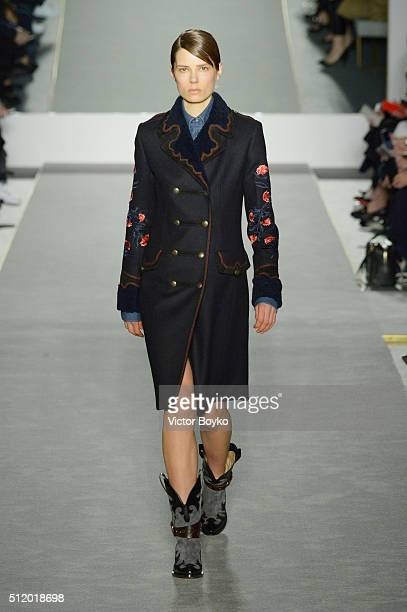 A model walks the runway at the Fay show during Milan Fashion Week Fall/Winter 2016/17 on February 24 2016 in Milan Italy