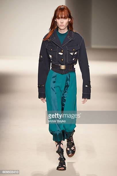 A model walks the runway at the Fay show during Milan Fashion Week Spring/Summer 2017 on September 21 2016 in Milan Italy