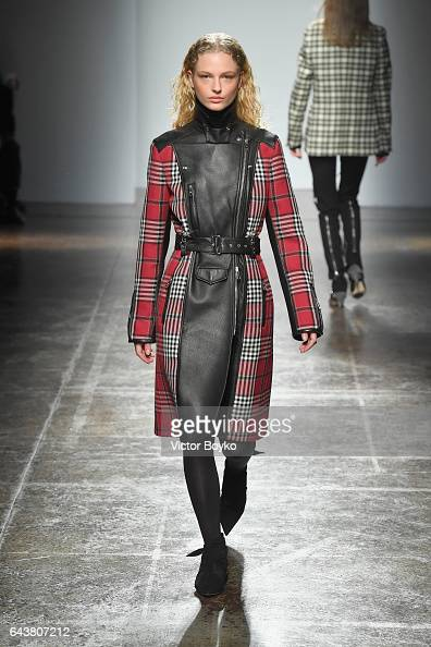 A model walks the runway at the Fay show during Milan Fashion Week Fall/Winter 2017/18 on February 22 2017 in Milan Italy