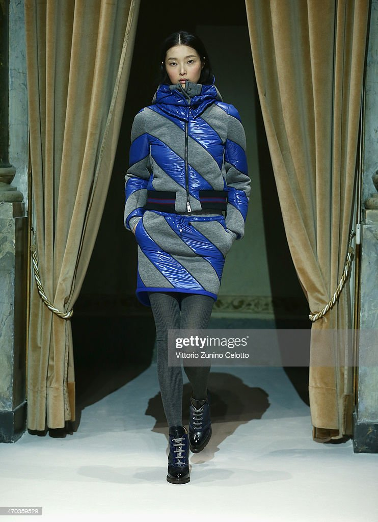 A model walks the runway at the Fay Show during Milan Fashion Week Womenswear Autumn/Winter 2014 on February 19, 2014 in Milan, Italy.