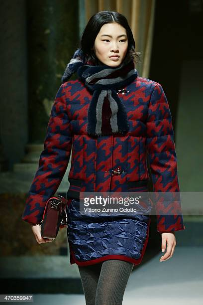 A model walks the runway at the Fay Show during Milan Fashion Week Womenswear Autumn/Winter 2014 on February 19 2014 in Milan Italy