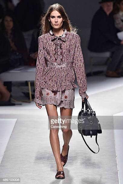 A model walks the runway at the Fay Spring Summer 2016 fashion show during Milan Fashion Week on September 23 2015 in Milan Italy