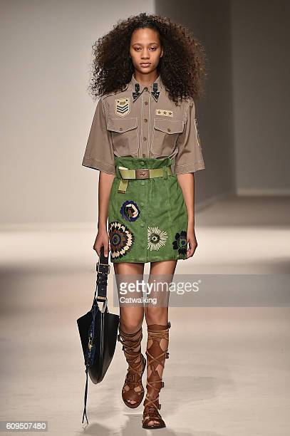 A model walks the runway at the Fay Spring Summer 2017 fashion show during Milan Fashion Week on September 21 2016 in Milan Italy