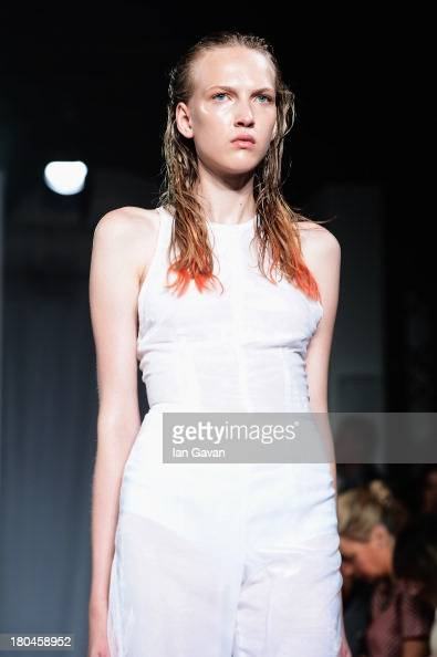 A model walks the runway at the Felder Felder show during London Fashion Week SS14 at The Studio Somerset House on September 13 2013 in London England