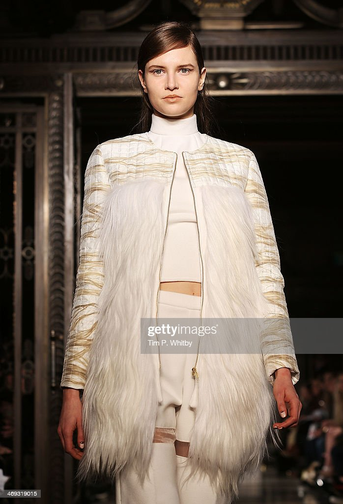 A model walks the runway at the Felder.Felder show at London Fashion Week AW14 at Freemasons Hall on February 14, 2014 in London, England.