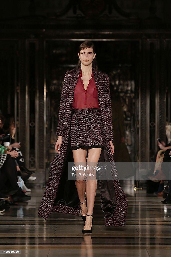 A model walks the runway at the Felder.Felder show at London Fashion Week AW14 at Freemasons Hall on February 14, 2014 in London, England.