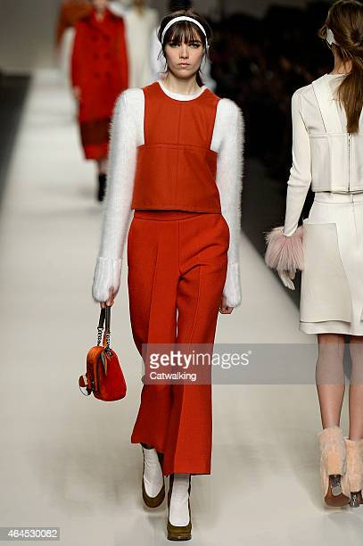 A model walks the runway at the Fendi Autumn Winter 2015 fashion show during Milan Fashion Week on February 26 2015 in Milan Italy