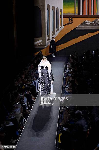 A model walks the runway at the Fendi Autumn Winter 2015 fashion show during Paris Haute Couture Fashion Week on July 8 2015 in Paris France