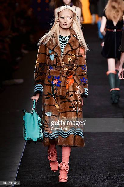 A model walks the runway at the Fendi Autumn Winter 2016 fashion show during Milan Fashion Week on February 25 2016 in Milan Italy