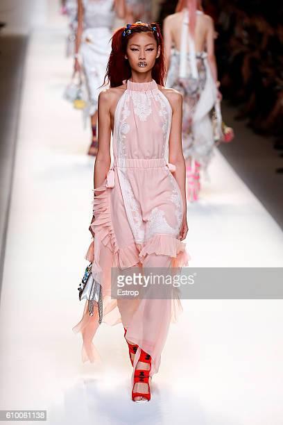 A model walks the runway at the Fendi designed by Silvia Venturini Fendi Karl Lagerfeld show Milan Fashion Week Spring/Summer 2017 on September 22...