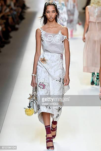 A model walks the runway at the Fendi Ready to Wear designed by Silvia Venturini Fendi Karl Lagerfeld show Milan Fashion Week Spring/Summer 2017 on...