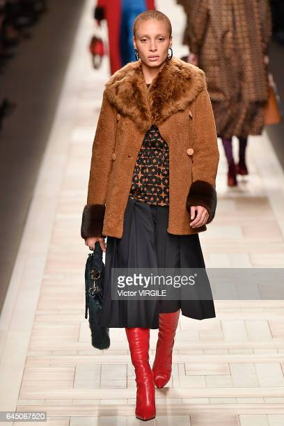 A model walks the runway at the Fendi Ready to Wear fashion show during Milan Fashion Week Fall/Winter 2017/18 on February 23 2017 in Milan Italy