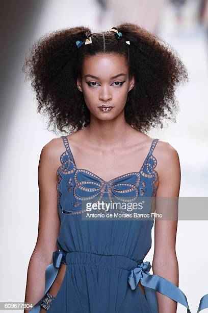 A model walks the runway at the Fendi show during Milan Fashion Week Spring/Summer 2017 on September 22 2016 in Milan Italy