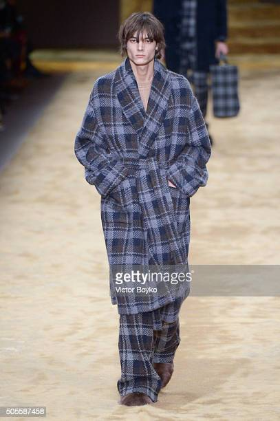 A model walks the runway at the Fendi show during Milan Men's Fashion Week Fall/Winter 2016/17 on January 18 2016 in Milan Italy