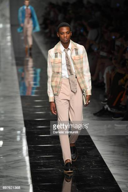 A model walks the runway at the Fendi show during Milan Men's Fashion Week Spring/Summer 2018 on June 19 2017 in Milan Italy