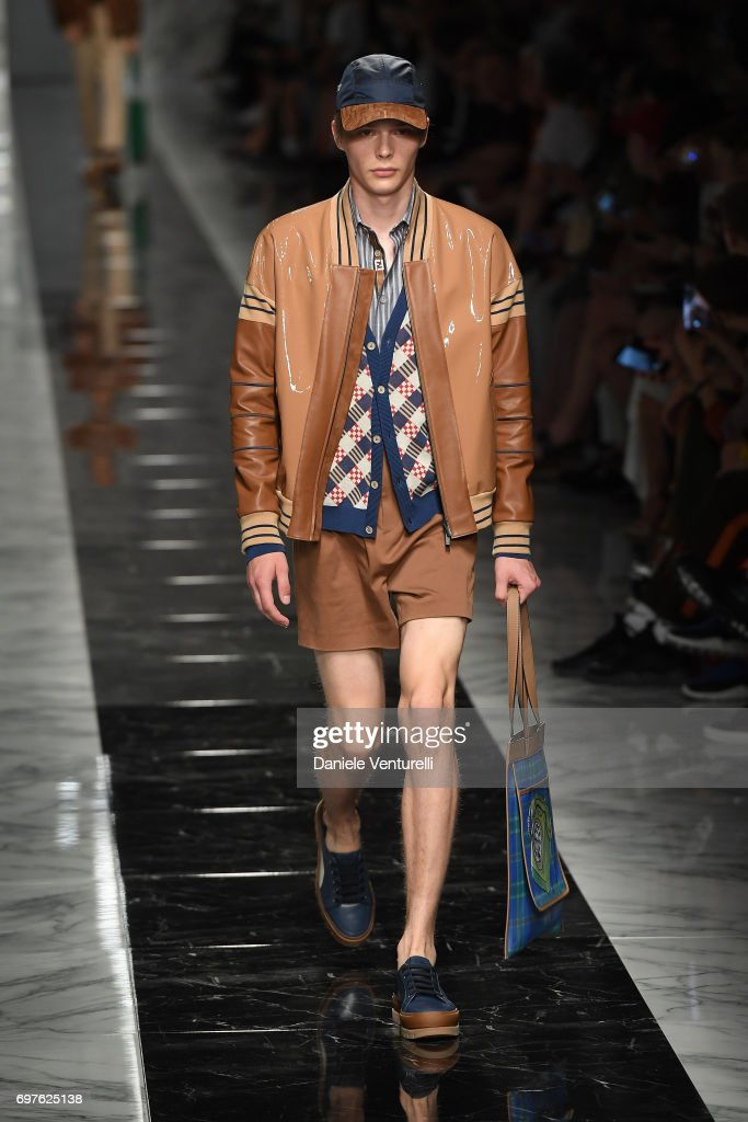 A model walks the runway at the Fendi show during Milan Men's Fashion Week Spring/Summer 2018 on June 19, 2017 in Milan, Italy.