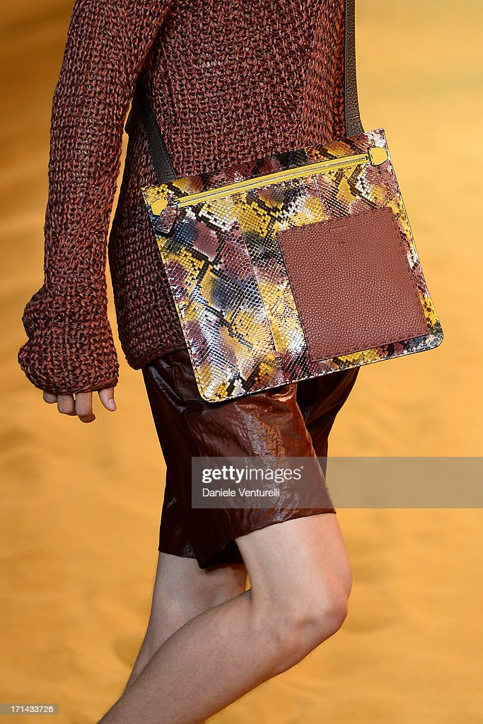 A model walks the runway at the Fendi show during Milan Menswear Fashion Week Spring Summer 2014 on June 24, 2013 in Milan, Italy.
