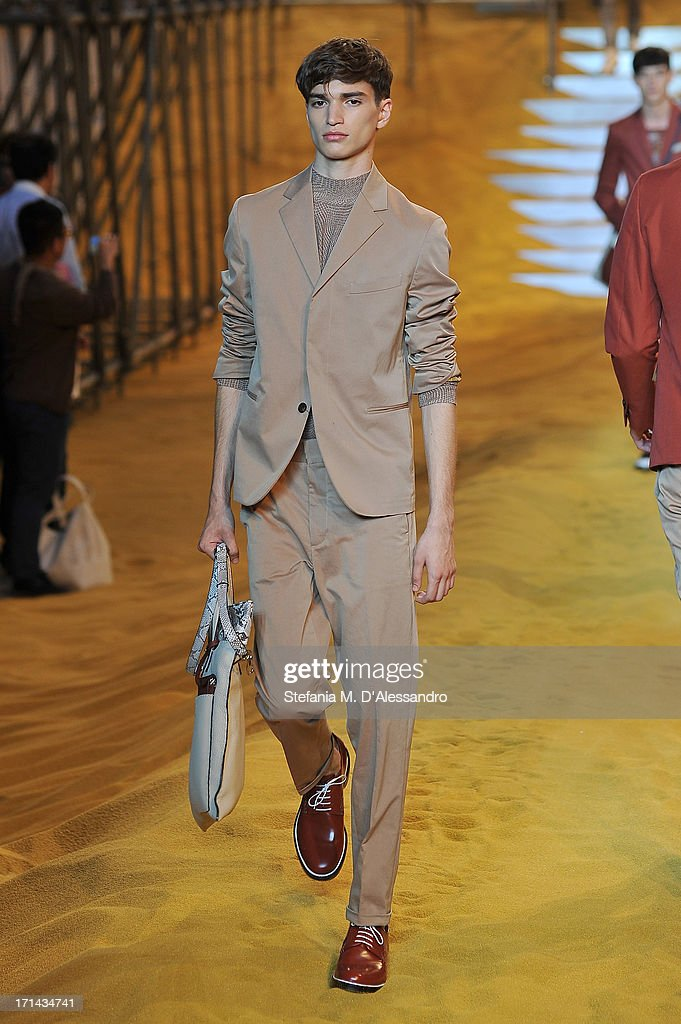 A model walks the runway at the Fendi show during Milan Menswear Fashion Week Spring Summer 2014 show on June 24, 2013 in Milan, Italy.