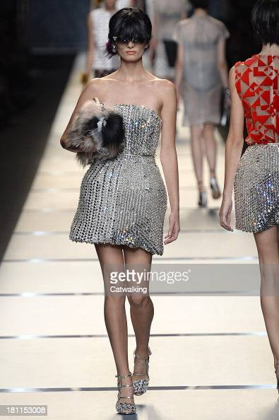 A model walks the runway at the Fendi Spring Summer 2014 fashion show during Milan Fashion Week on September 19 2013 in Milan Italy