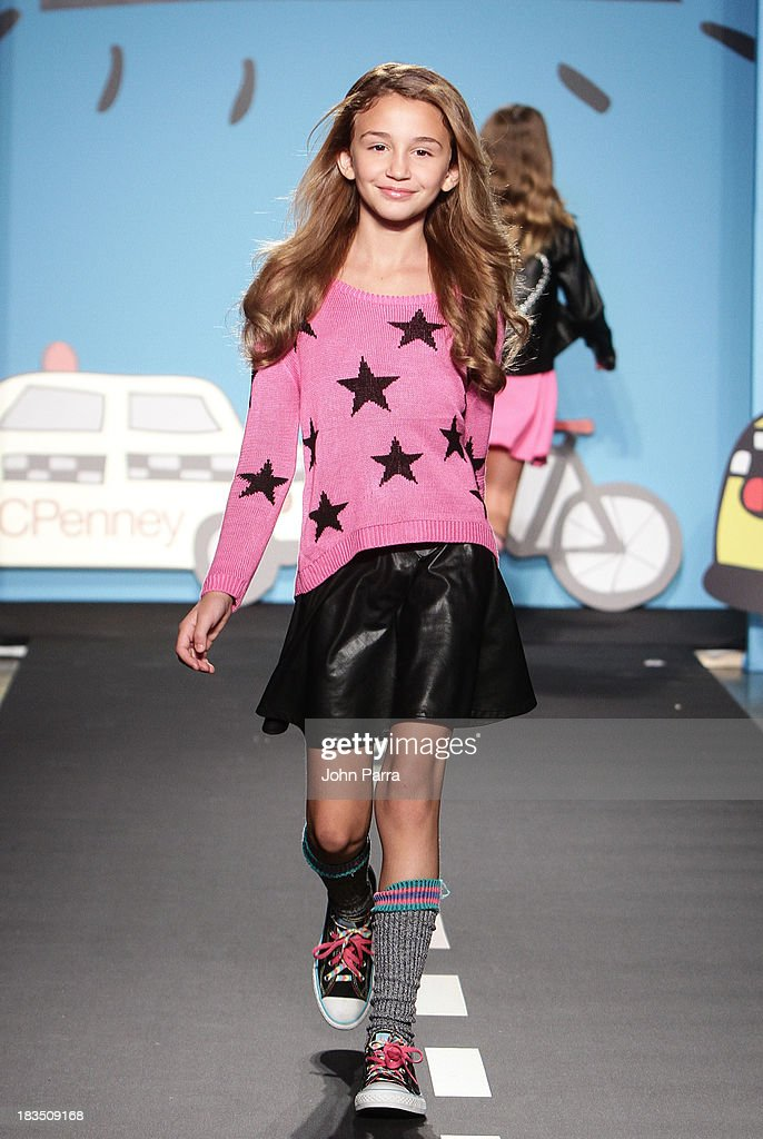 A model walks the runway at the Flowers by ZOE By Kourageous Kids preview during JCPenney showcase at petiteParade Kids Fashion Week in Collaboration with VOGUEbambini at Industria Superstudio on October 6, 2013 in New York City.