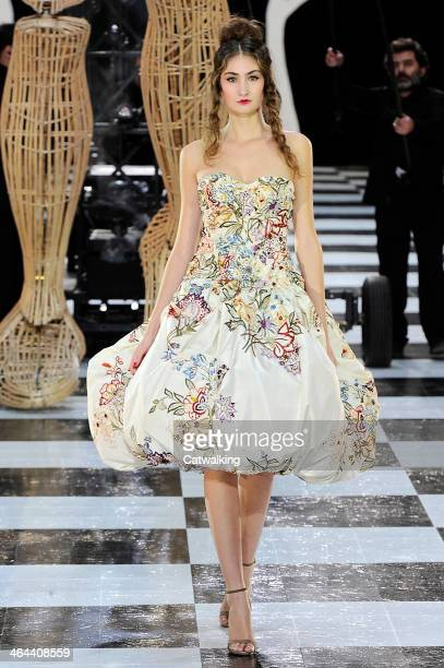 A model walks the runway at the Frank Sorbier Spring Summer 2014 fashion show during Paris Haute Couture Fashion Week on January 22 2014 in Paris...