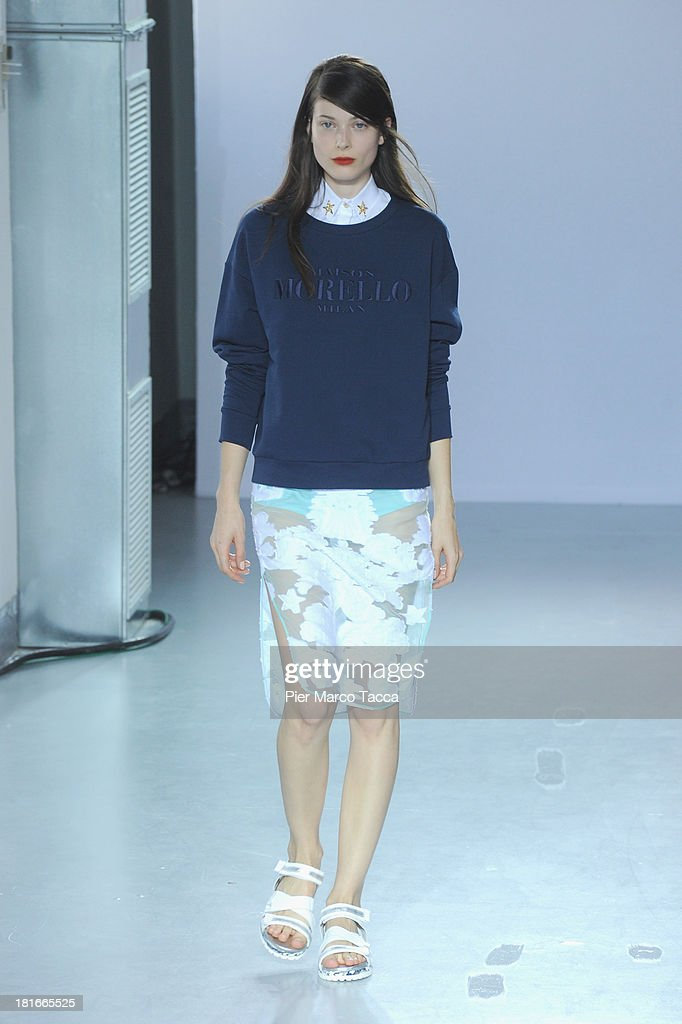 A model walks the runway at the Frankie Morello show as a part of Milan Fashion Week Womenswear Spring/Summer 2014 at on September 23, 2013 in Milan, Italy.